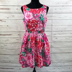 Lilly Pulitzer A-Line Dress Pink Floral Size 10
